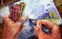 蜡笔画艺术宽屏高清壁纸