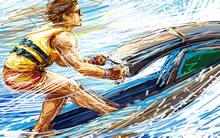 蜡笔画体育运动宽屏壁纸水上摩托