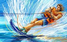 蜡笔画体育运动宽屏壁纸滑水